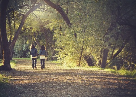 2 kids, about eight years old, walking down a tree canopied lane in autumn.