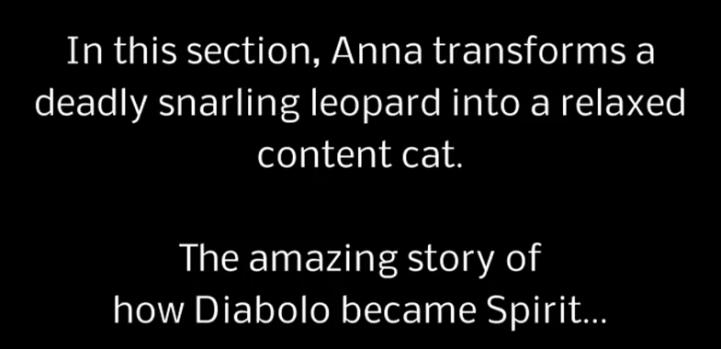 youtube screenshot - In this section, Anna transforms a deadly snarling leopard into a relaxed content cat. The amazing story of how Diabolo became Spirit...