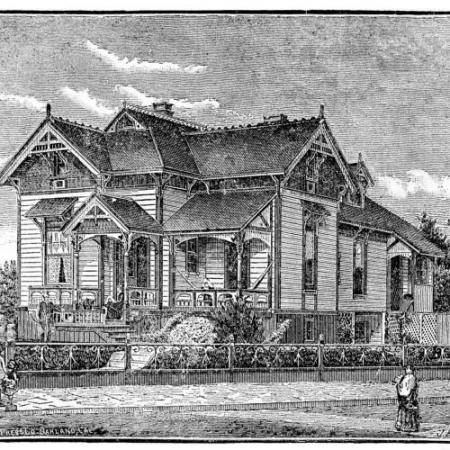 1887 California house designed with larger windows to reduce so many little windows with all the corners to need cleaning. reusableart.com