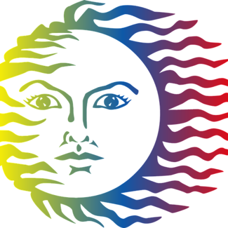 drawing of the sun with a serious face, its rays are colors of the rainbow, blowing to the right