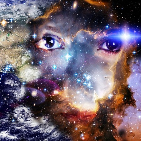 Beautiful universal skies melded with the image of a face