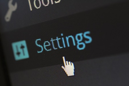 closeup image of the word Settings, from WordPress