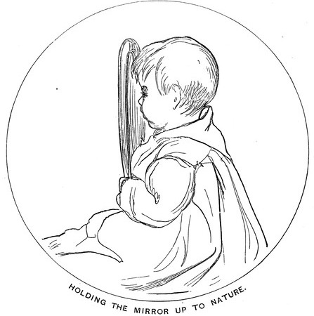 "A vintage 1884 drawing of An infant discovering himself by looking in the mirror. Words at the bottom of the image, ""Holding the mirror up to nature.:"