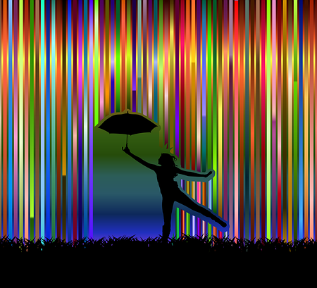 a silhouette of a lady dancing with an umbrella with stripes of colors falling from the sky