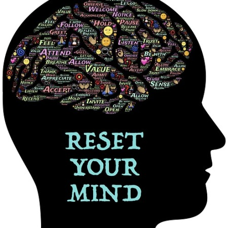 """black silhouette of side profile head. Brain area has words of encourgement. Side of face has words, """"RESET YOUR MIND"""""""