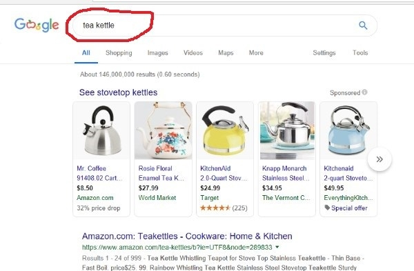 screenshot of a google search for tea kettle