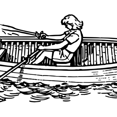 Cartoon sketch of lone female rowing boat on lake